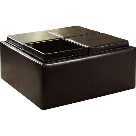 Storage Ottomans With Trays - storage ottoman with 4 trays brown faux