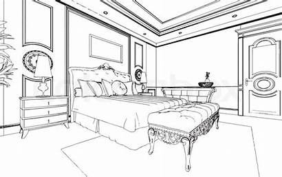 Clipart Bed Bedroom Interior Pencil Vector Graphics