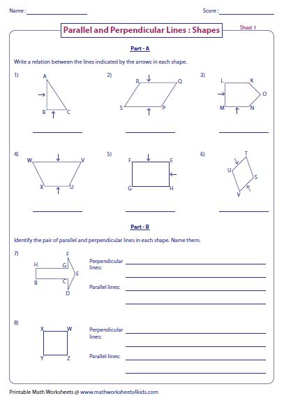 parallel perpendicular and intersecting lines worksheets