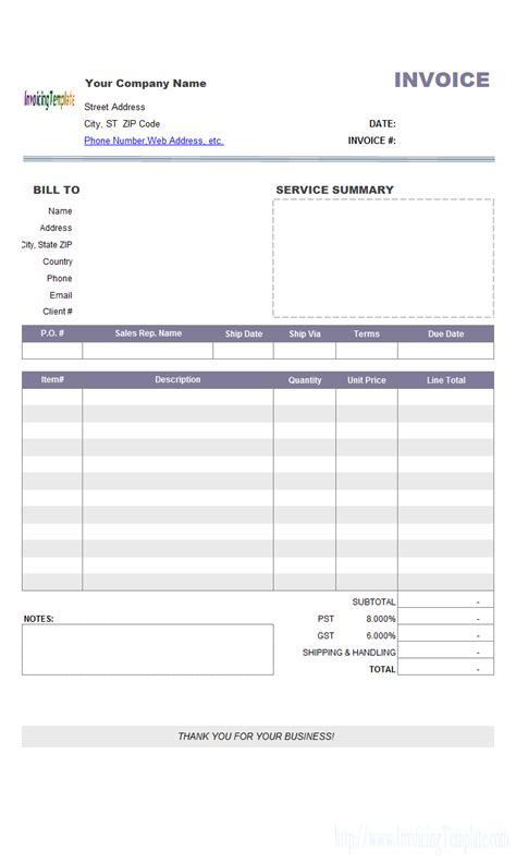 travel service bill format