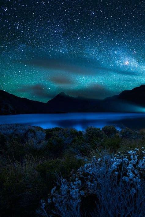 Blue Starry Sky Night Beautiful Clouds Stars
