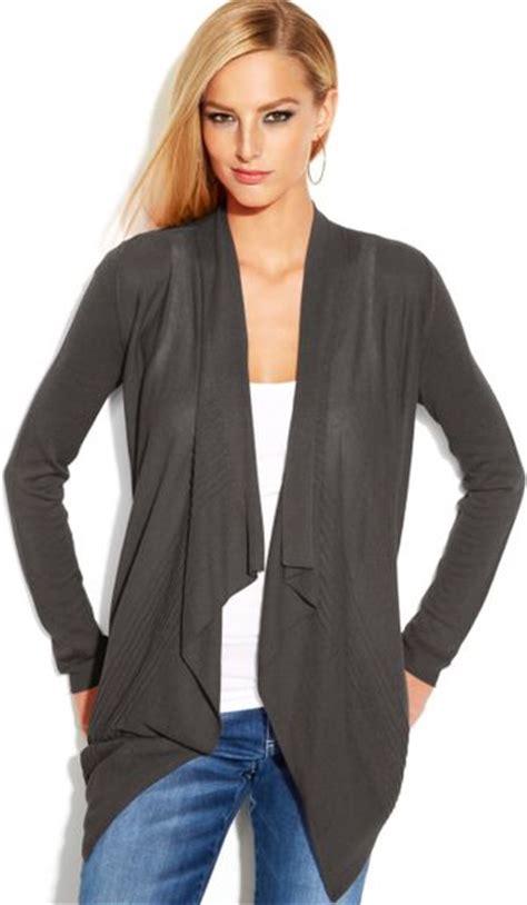 Grey Draped Cardigan - inc international concepts draped asymmetrical openfront