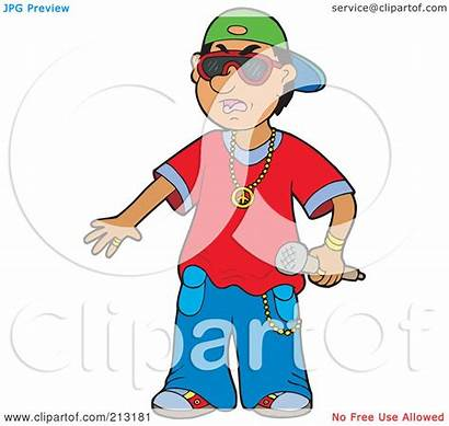 Rapper Holding Microphone Clipart Young Illustration Royalty