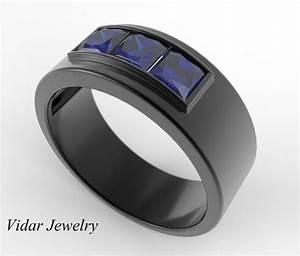 mens wedding band princess cut blue sapphire wedding band With sapphire wedding rings for men