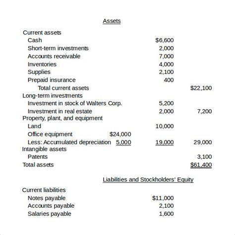 balance sheet samples sample templates