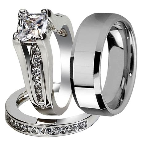 3 pcs his stainless steel wedding engagement ring band ebay