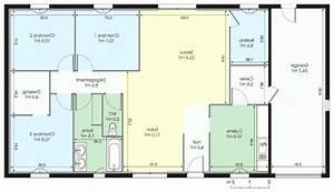 plan maison plain pied 100m2 avie home With plan maison plain pied rectangulaire
