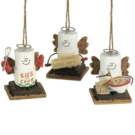 s mores cooking angel christmas ornaments set of 3