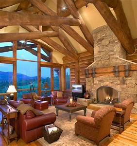 Hybrid Log House on Golf Course - Traditional - Living