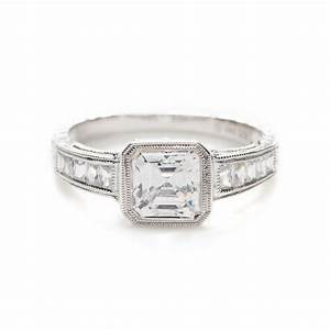 bezel set square diamond ring wedding promise diamond With square diamond wedding ring sets