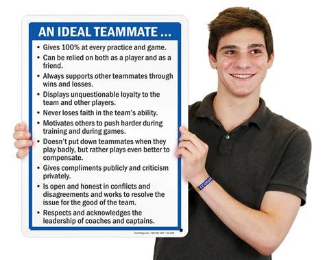 sports etiquette signs     good teammate  parent