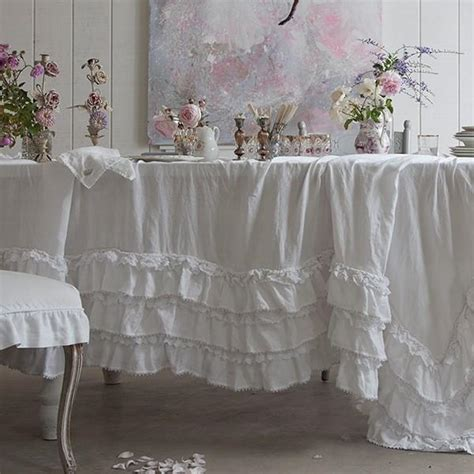 shabby chic table linens white petticoat tablecloth from rachel ashwell shabby chic couture
