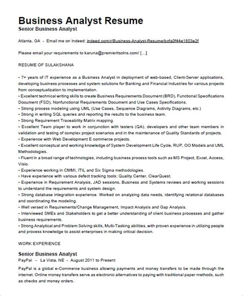 business analyst resume sles pdf 28 images business