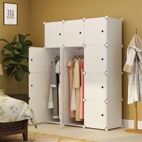 2018 portable closet for bedroom clothes armoire dresser cube storage organizer white