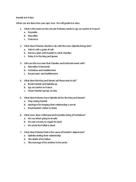 Hamlet Act II Quiz | Hamlet | Tragedy Plays