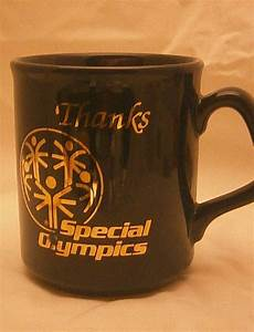 special olympics made in england black coffee mug thanks With mug lettering