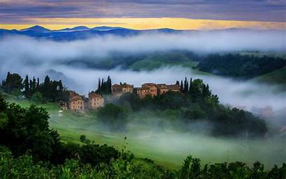 Tuscany Italy Fog Wallpapers Hill Mountain Desktop