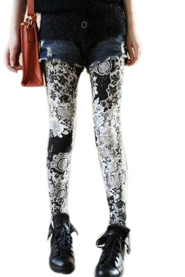 Black High Waist Lace Floral Printed Leggings Floral Lace