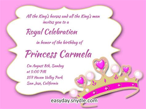 princess birthday invitation wording samples  ideas