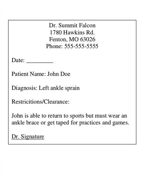 doctors note templates  premium templates