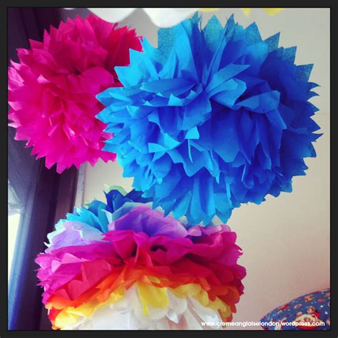 Rainbow Tissue Paper Pom Poms Tutorial Cremeanglaise