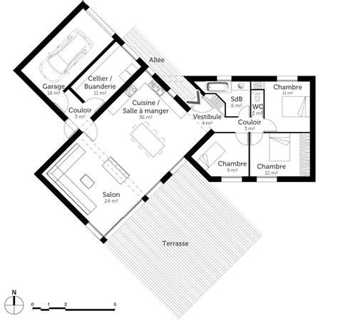 photo de cuisine ouverte sur sejour découvrez 5 plans de maisons de 100m et les plans de masse