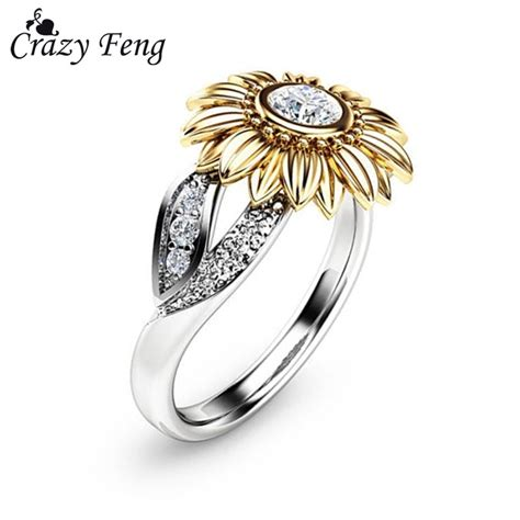 cz stone ring jewelry bague femme silver color cute gold