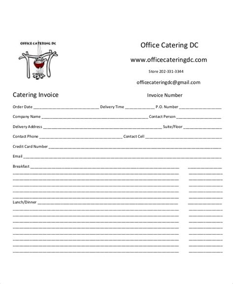 sample catering invoice templates  ms word