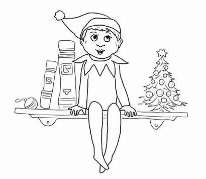 Elf Shelf Coloring Pages Christmas Printable Sheets