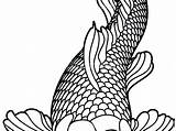 Koi Fish Coloring Pages Japanese Outline Drawing Line Fishing Drawings Flower Adults Printable Mandala Tattoo Realistic Print Easy Dragon Ice sketch template