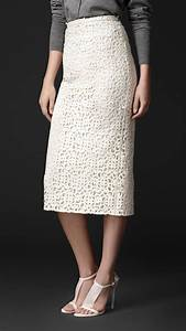 Burberry Macramé Lace Pencil Skirt in White   Lyst
