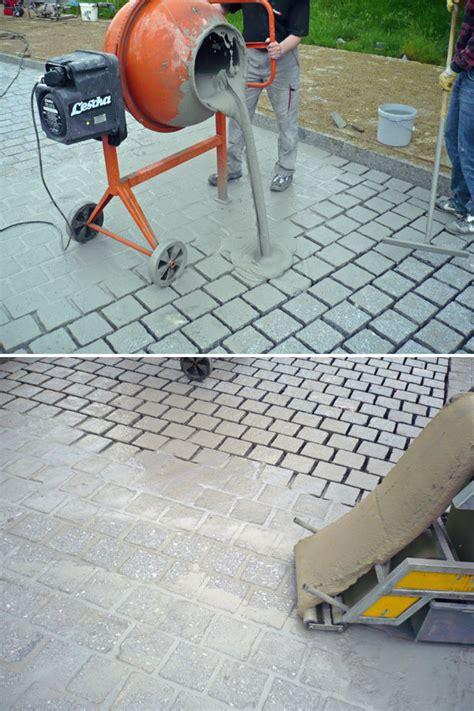 pflastersteine verfugen splitt fugenmaterial betonpflaster mischungsverh 228 ltnis zement