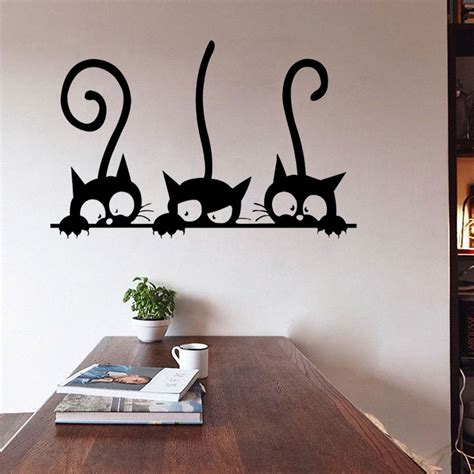 Stunning Living Room Wall Stickers by Diy Three Cats Wall Stickers Removable Living Room Decor