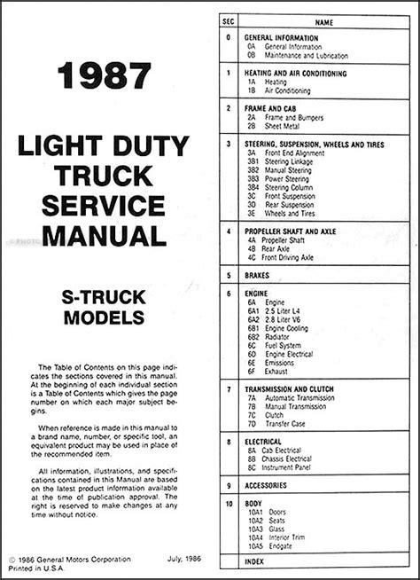 Chevrolet Pickup Blazer Repair Shop Manual