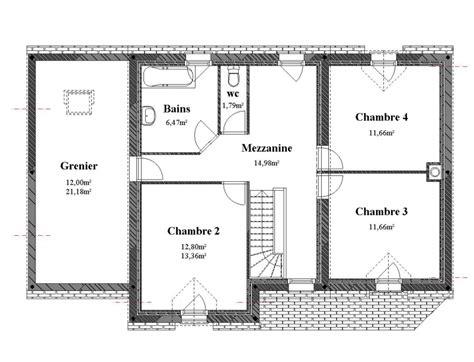 plan de maison à étage 4 chambres plan maison 4 pans etage