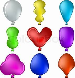 Balloons, different shapes Stock Vector Colourbox