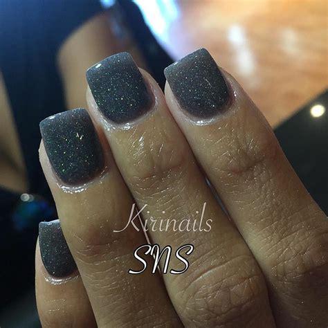 black  glitter sns dipping powder nails  angel nail
