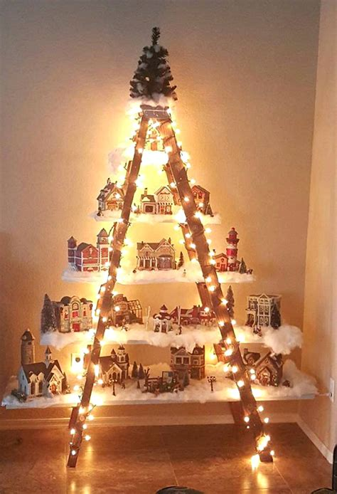 Christmas Ornament Display Stand by Beautiful Christmas Ladder Village Crafty Morning