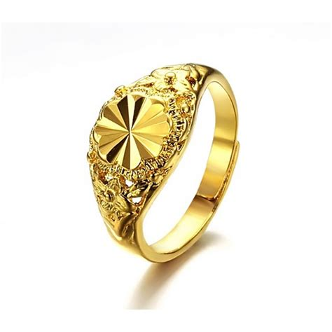 dubai gold jewelry k gold pattern carved fashion classic s wedding rings opens the