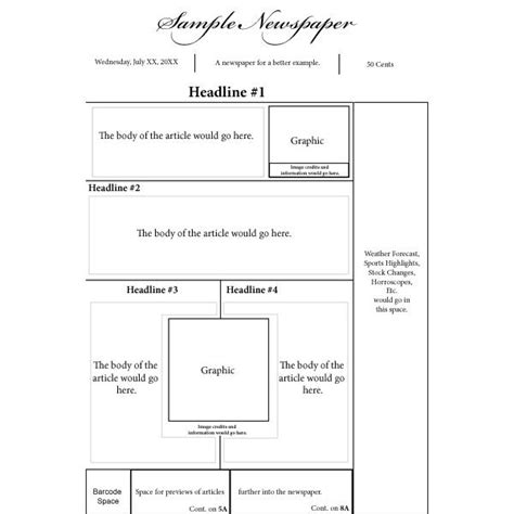 basic newspaper template newspaper front page layout template world of label