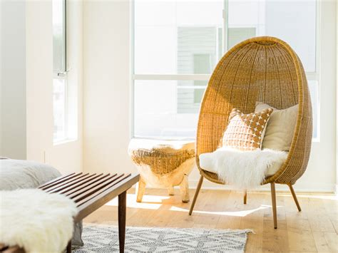 Bedroom Wicker Chairs For Sale by Modern Egg Shaped Wicker Chair With Sheepskin Midcentury