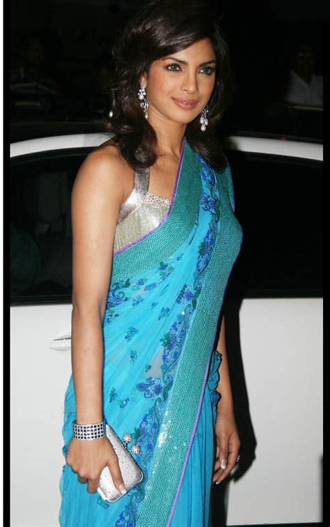priyanka chopra sleeveless saree sheclickcom