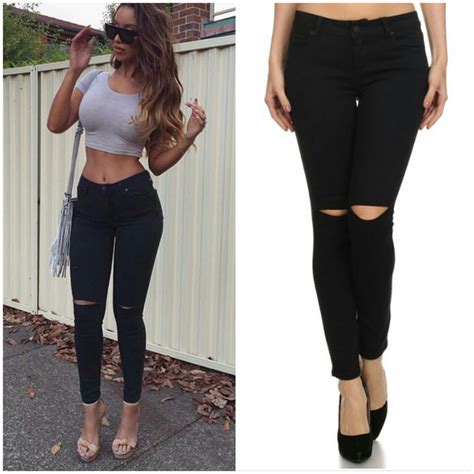 Lydia Black Cut Out Knee Skinny Jeans