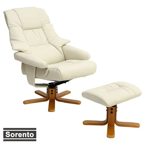 High back swivel office chair leather computer chair gammer chair. SORENTO REAL LEATHER CREAM SWIVEL RECLINER CHAIR w FOOT ...