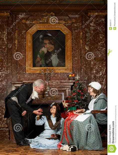 victorian christmas scene royalty  stock photography