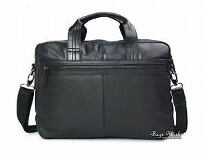 Mens soft leather briefcase, black natural leather ...