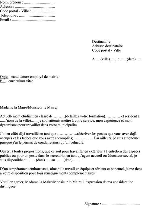 modele lettre de motivation employé communal exemple de lettre de motivation 233 tudiant employ 233 en