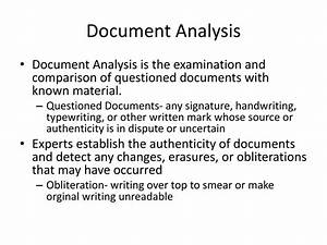 Forensic science document analysis ppt download for Questioned documents analysis