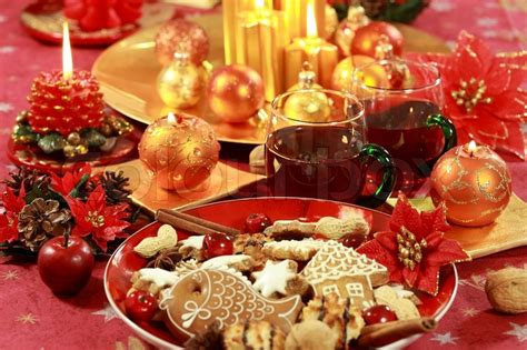 christmas table setting  hot drink  cookies stock