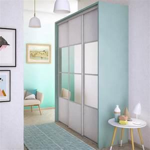 Porte Coulissante Miroir Placard : porte de placard coulissante neige mat miroir spaceo l ~ Premium-room.com Idées de Décoration